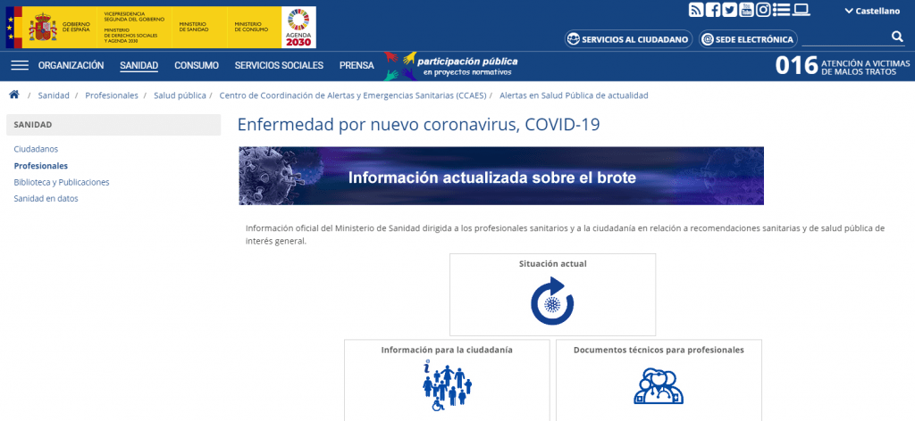Web Ministerio de Sanidad sobre Coronavirus