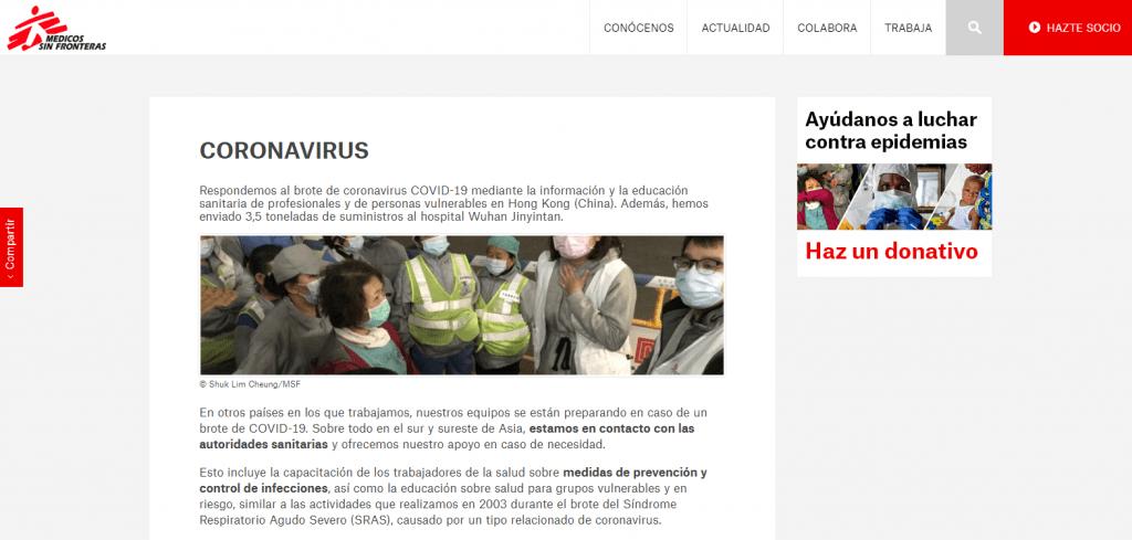 Web Médicos Sin Fronteras sobre Coronavirus