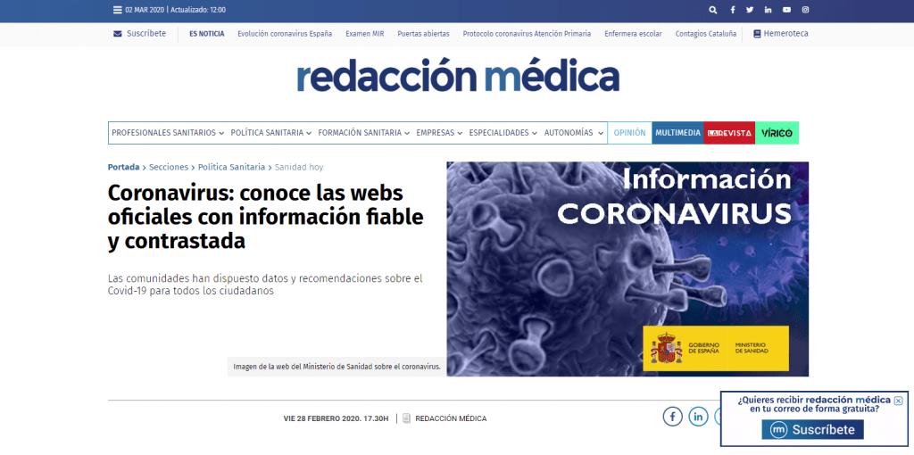 Web Redacción Médica sobre Coronavirus