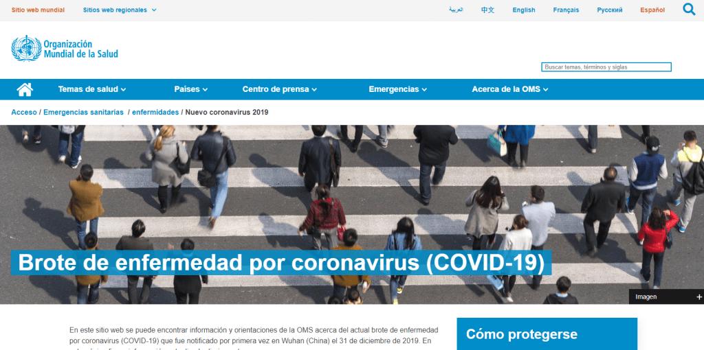 Web OMS sobre Coronavirus